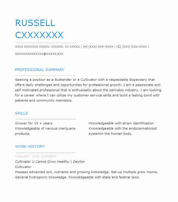 lead budtender cannabis cultivator resume example