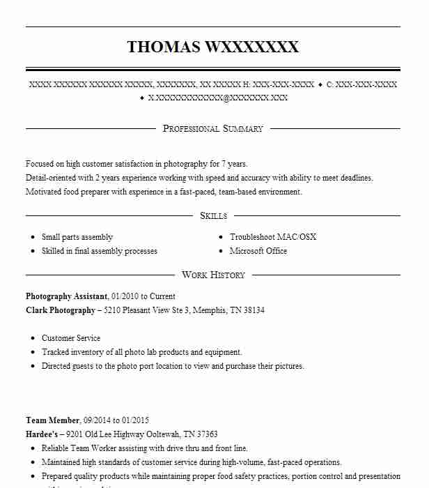 Photography Assistant Resume Sample