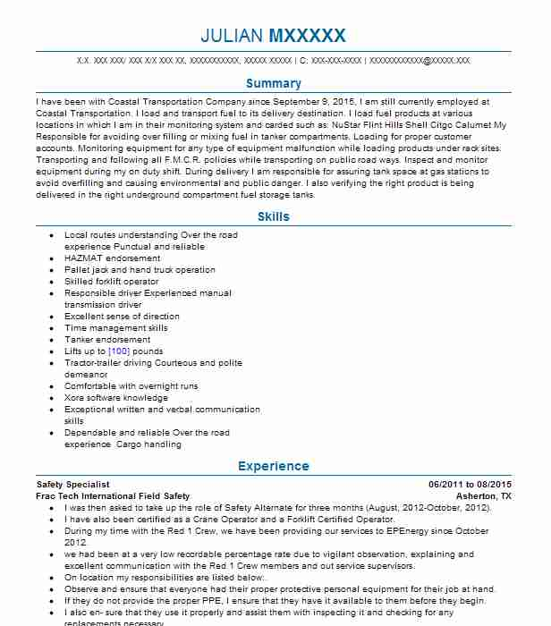 safety specialist resume example united states postal