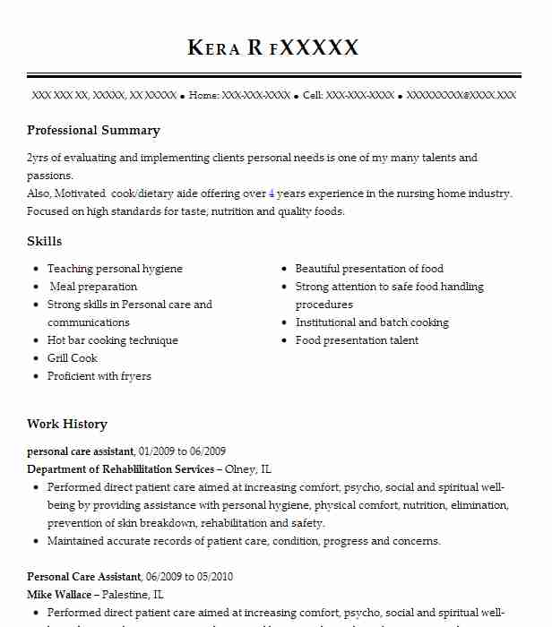 best personal care assistant resume example