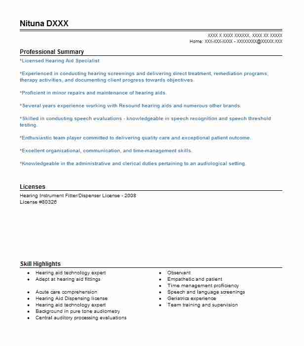 6 speech pathology and audiology resume examples in waco tx - Hearing Instrument Specialist Sample Resume