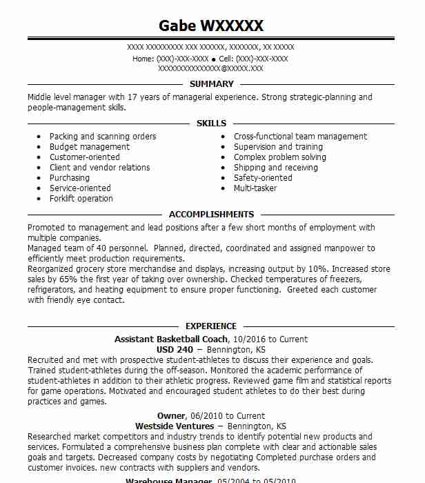 assistant basketball coach resume sample