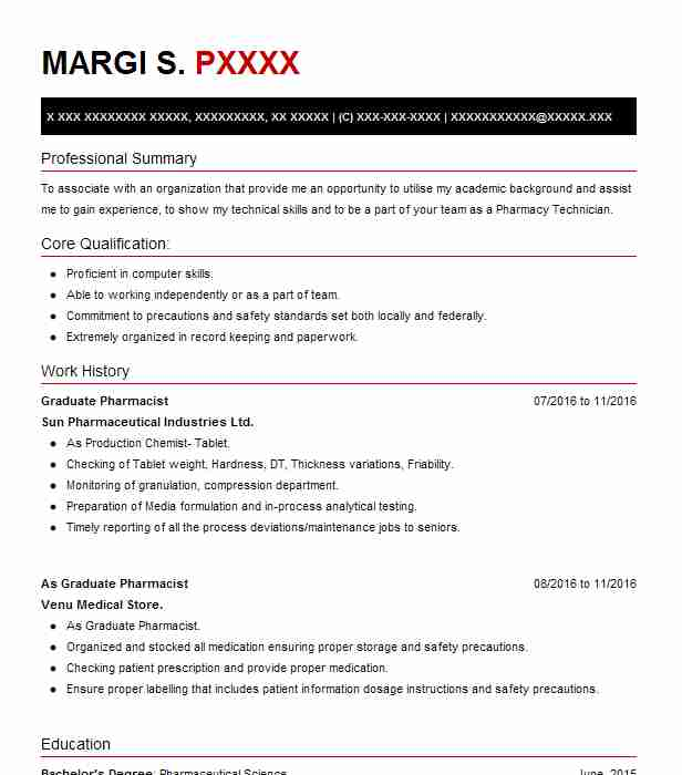 Graduate Pharmacist Resume Sample Pharmacist Resumes Livecareer