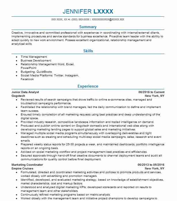 Junior Data Analyst Resume Example Target Glen Allen Virginia