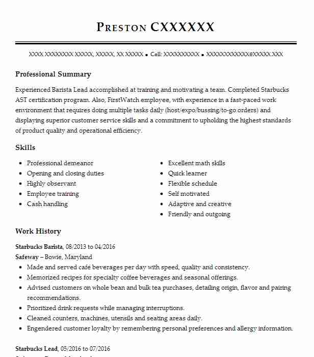 Starbucks Barista   Cashier Resume Example Starbucks