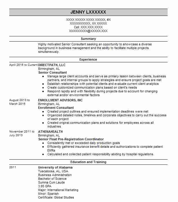 1544 Business Administration (Business) Resume Examples in Alabama ...