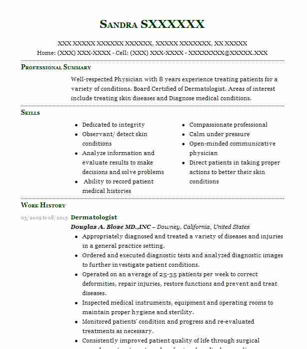 dermatologist resume sample