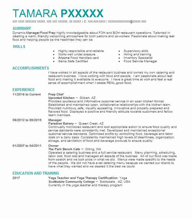 prep chef resume sample