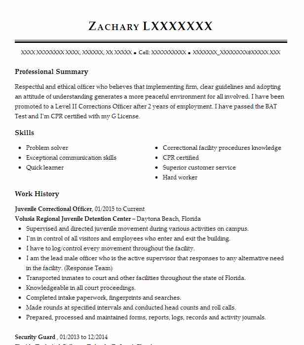 juvenile correctional officer resume sample