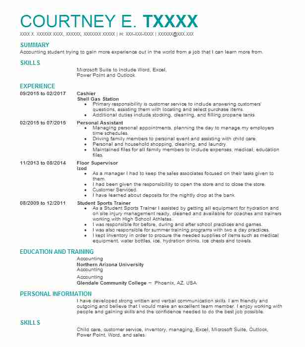 Cashier Resume Example Shell Gas Station Peoria Arizona