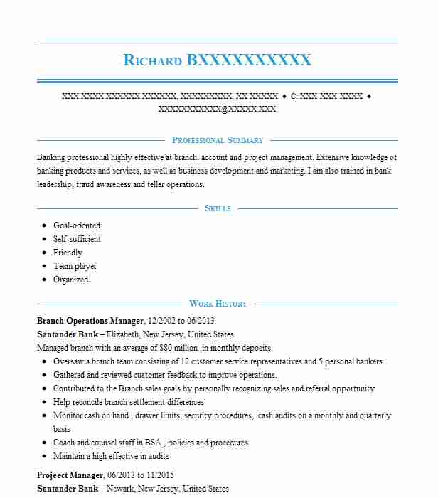branch operations manager resume sample