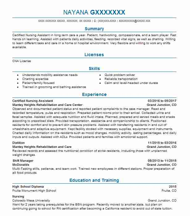 Certified Nursing Assistant Resume Example Mantey Heights