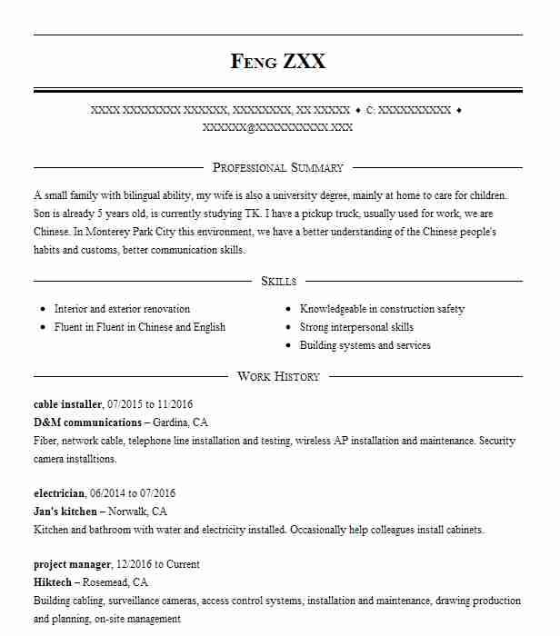 cable installer resume sample