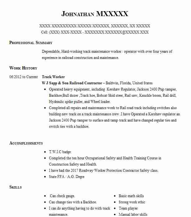 track worker resume sample
