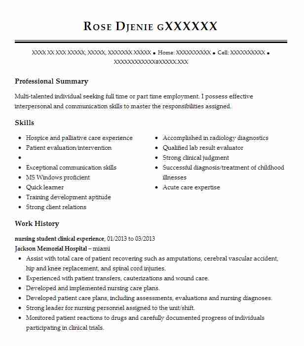 Clinical Nursing Student Resume Example Johns Hopkins Hospital