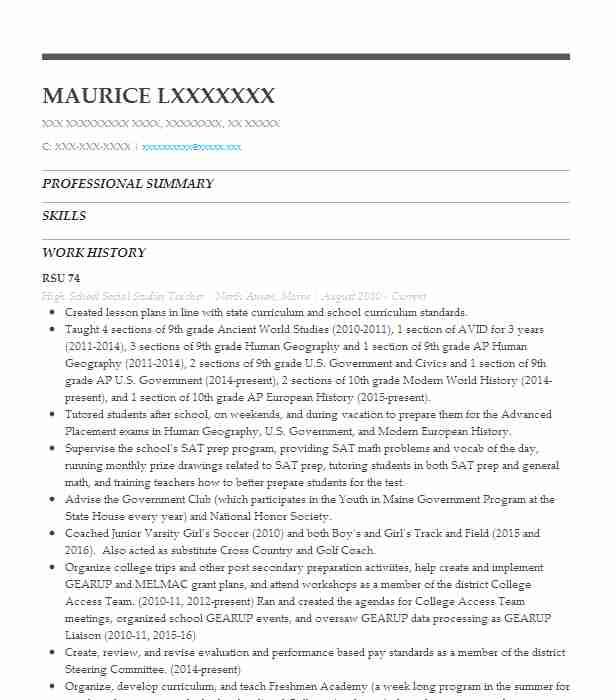 high school social studies teacher resume sample livecareer