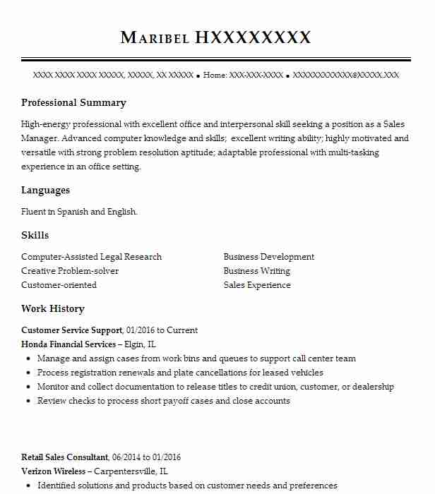 Beautiful Customer Service Support Resume Example (Honda Financial Services)   Elgin,  Illinois