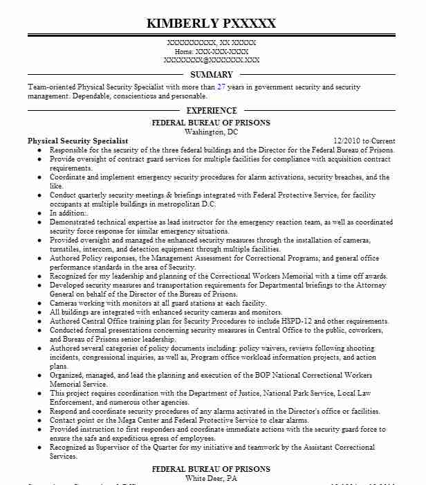 physical security specialist resume example internal