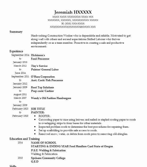 food processor resume sample