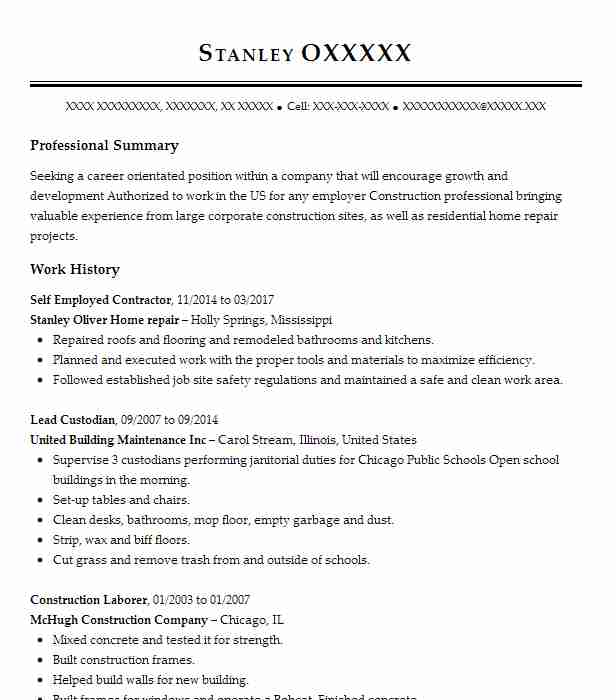 self employed contractor resume example self employed