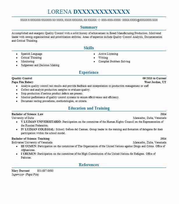 quality control resume sample