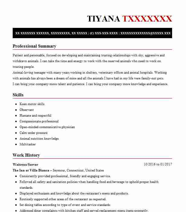 waitressserver - Animal Science Resume Templates