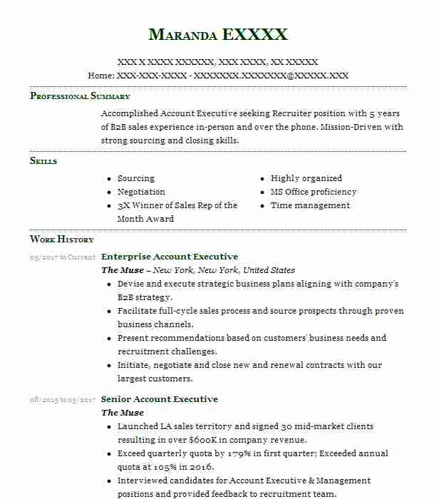 Enterprise Account Executive Resume Example The Muse - New ...