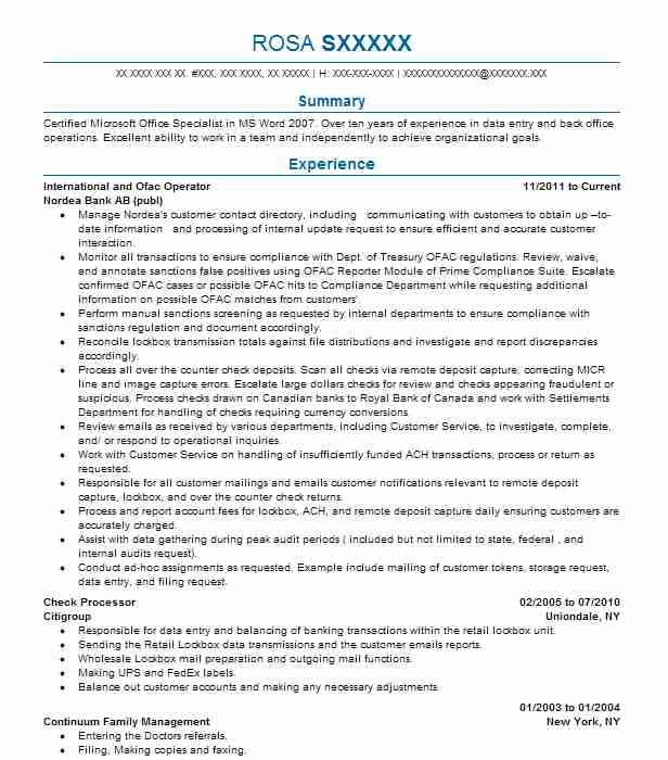 ofac specialist resume example discover card