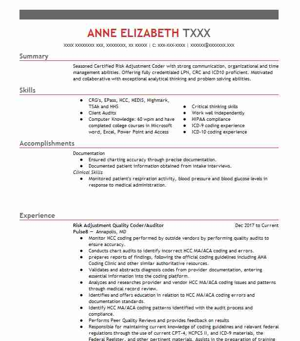 contractor hcc risk adjustment coder remote resume example