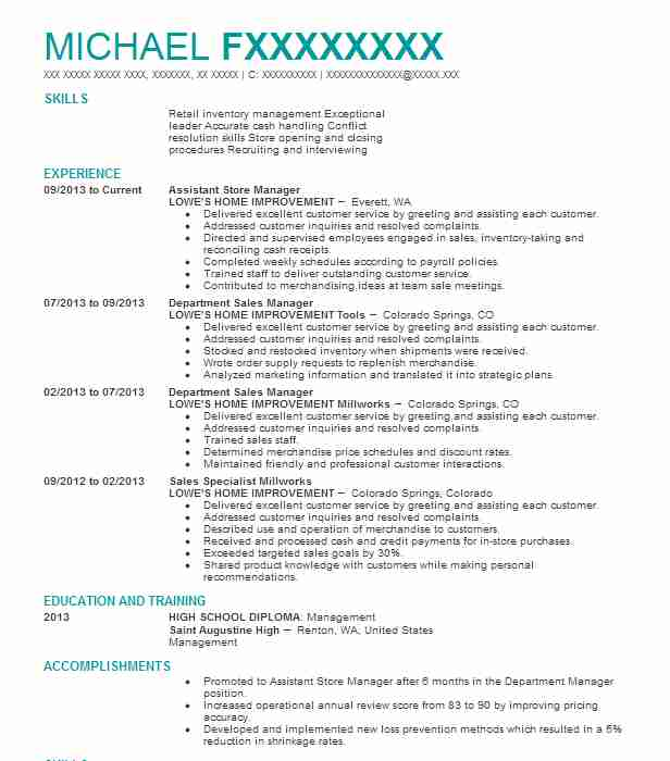 Assistant Store Manager Resume Sample Manager Resumes