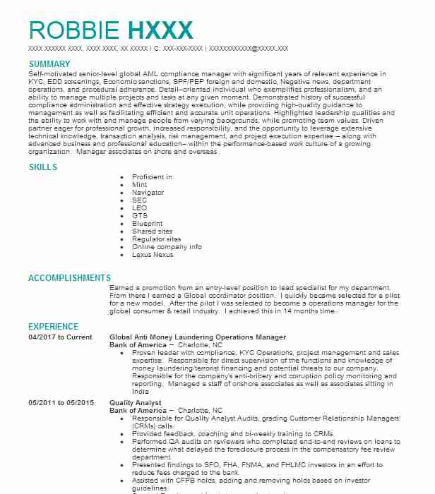 anti money laundering  aml  investigator resume example