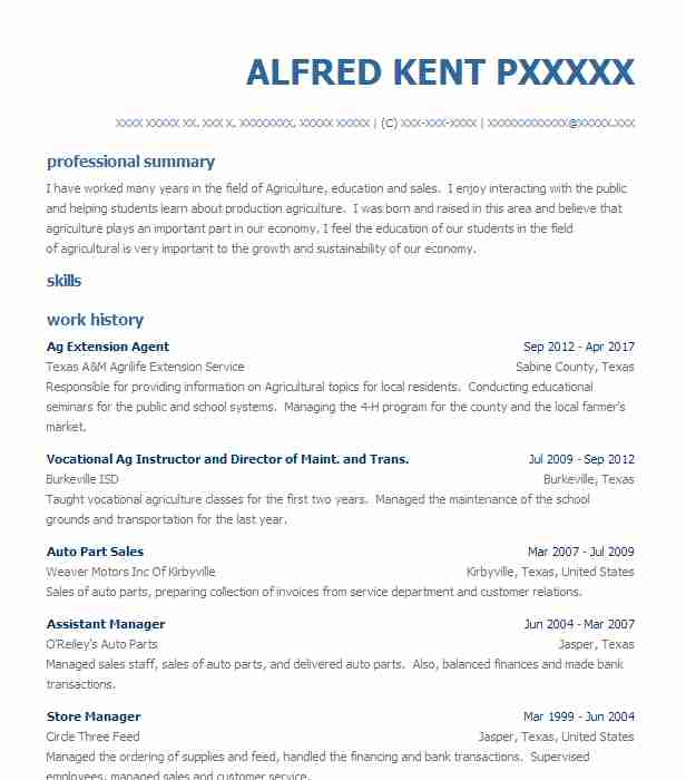 county extension agent resume example alabama cooperative