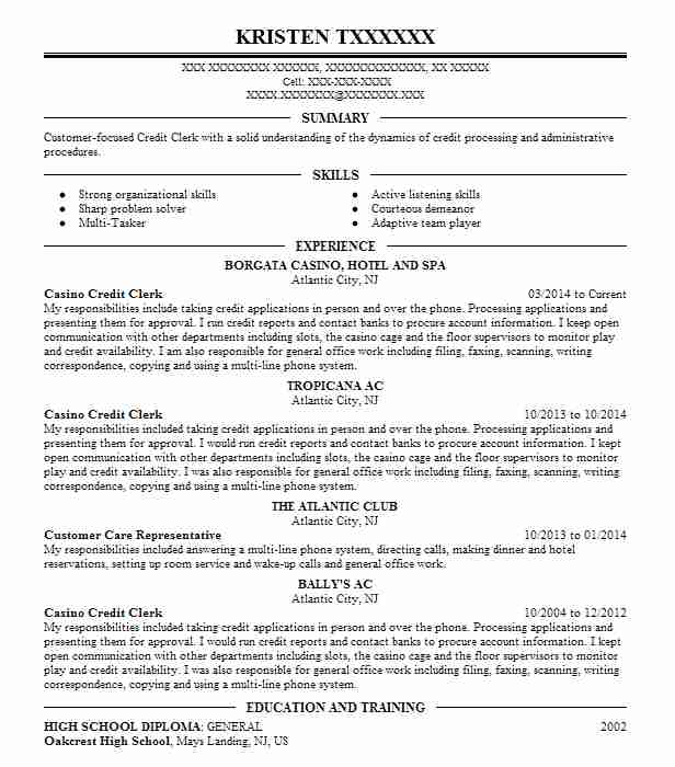 casino credit clerk resume example aria city center