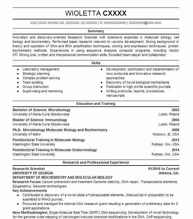 7037 biotechnology resume examples science resumes livecareer