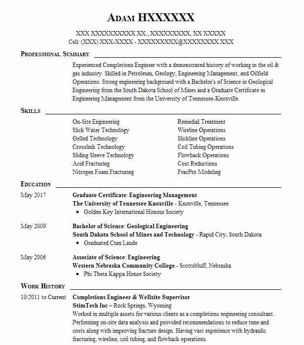 Completions Engineer Resume Example Conocophillips