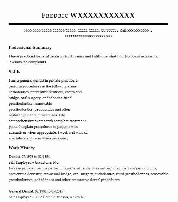 Dentist Resume Sample Dental Resumes LiveCareer