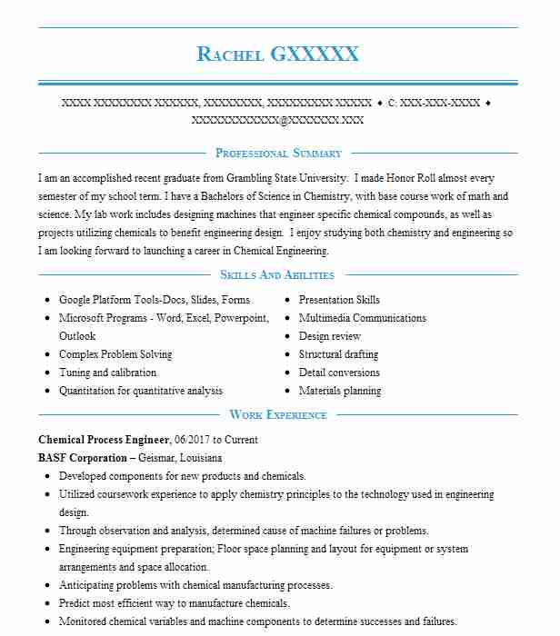 Process Technology Resume: Chemical Process Engineer Resume Sample