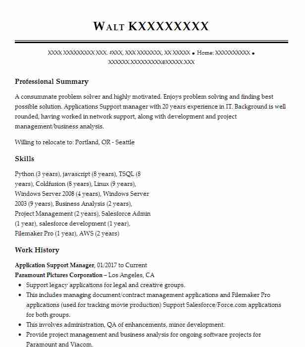 Application Support Manager Resume Sample | LiveCareer