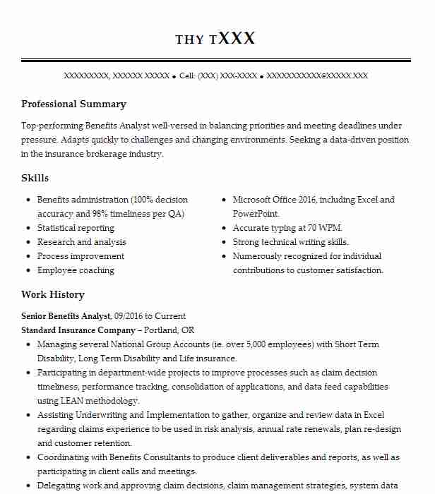 Senior Benefits Analyst Resume Example Standard Insurance Company