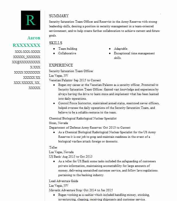 Security Saturation Team Officer Resume Example Venetian