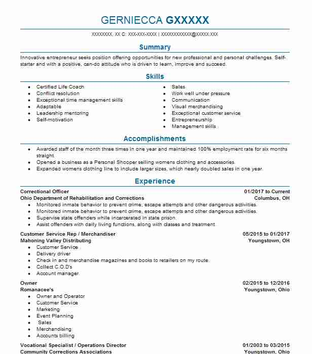 Correctional Officer Resume Sample Resumes Misc Livecareer