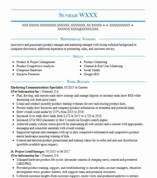 marketing communications specialist resume sample