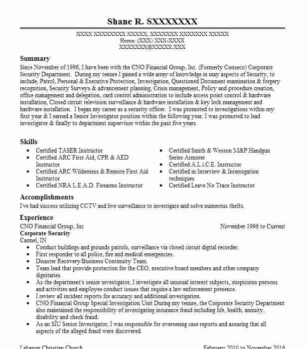 267 Security Management (Law Enforcement And Security) Resume ...