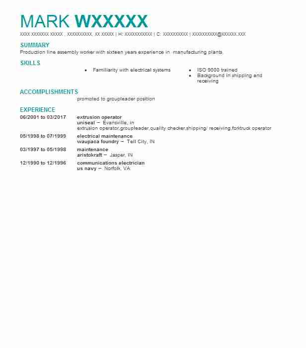 Best Extrusion Operator Resume Example