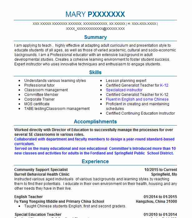 178 continuing education resume examples in missouri