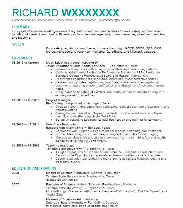 occupational health and safety specialist resume sample