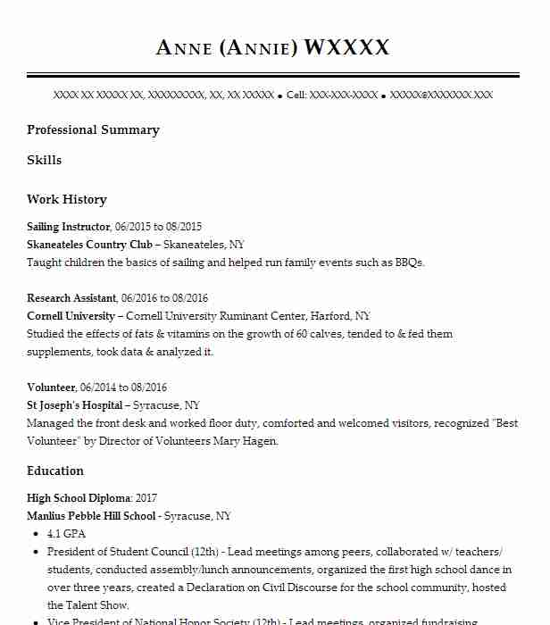 sailing instructor resume sample