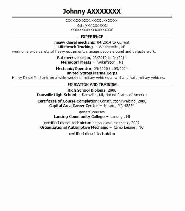 heavy diesel mechanic resume sample