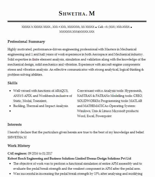 Cae Engineer Resume Example Robert Bosch Engineering And
