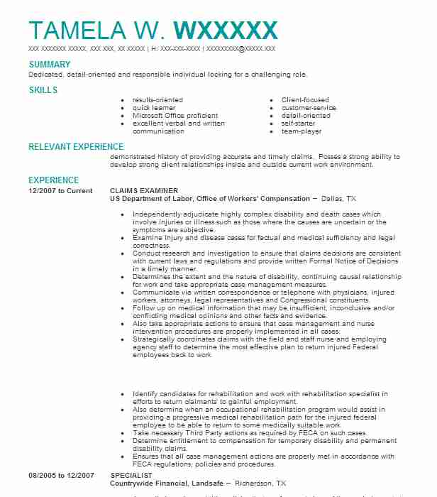 CLAIMS EXAMINER  Background Investigator Resume